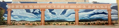 coffee mural Lampasas, Texas commisioned by Barry Williams for Barry's Coffee Company by Fallon 80ft. x 20ft.